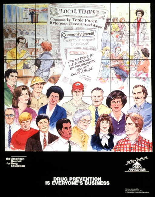 <p>In the background is a person making a speech at a high school, a physician speaking to a group of people, a bartender talking to a person at the bar, and a group of people in a living room setting.  Superimposed on the scenes are the Local Times newspaper, the Community Journal, and a PTA announcement.  People of different ages and ethnicity are in the foreground.</p>