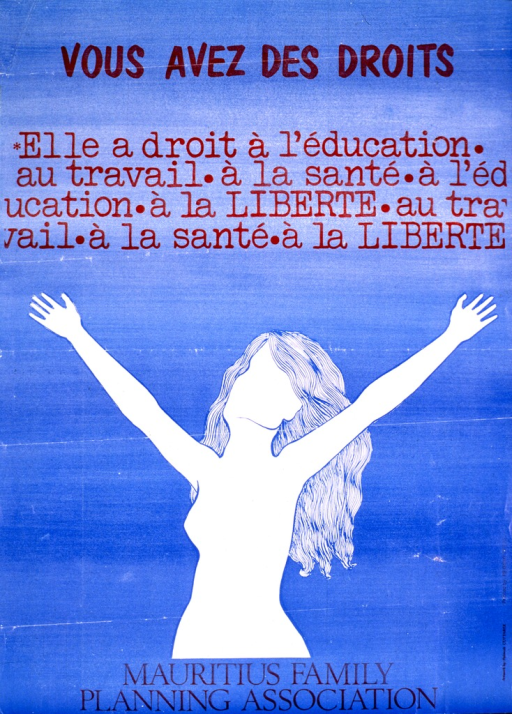 <p>Bright blue poster with black lettering.  Title at top of poster.  Caption below title stresses a woman's right to education, work, health, and freedom.  Caption phrases repeat.  Visual image is a white silhouette of a woman with her arms in the air, as if rejoicing.  Publisher information at bottom of poster.</p>