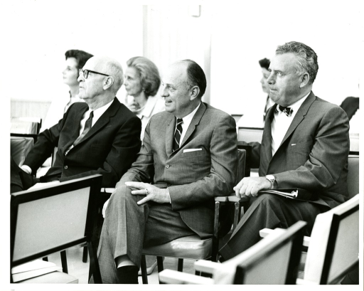 <p>Seated from left to right at the National Library of Medicine Dedication Ceremony are Senator Joseph Lister Hill of Alabama, United States Public Health Service Surgeon General Doctor Luther Leonidas Terry, and Rhode Island Congressman John Edward Fogarty.</p>