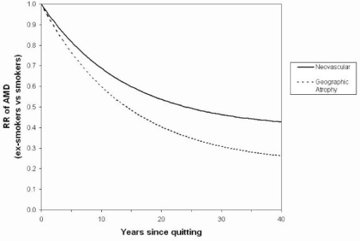 Predicted declines over time after smoking cessation in the Relative Risk (RR) of neovascular age-related macular degeneration (AMD) and geographic atrophy, for ex-smokers compared with smokers.