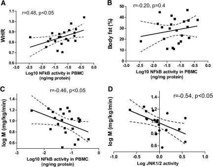NF-κB p65 activity in PBMCs and central obesity, insulin sensitivity, and JNK1 activity in subcutaneous adipose tissue and insulin sensitivity. A: NF-κB p65 activity in PBMCs and WHR. B: NF-κB p65 activity in PBMCs and total body fat. C: NF-κB p65 activity in PBMCs and M. D: JNK1/2 activity and insulin sensitivity (M).