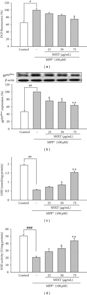 Effects of SHXTon ROS level (a), gp91phox expression (b), GSH level (c), and SOD activity (d) in primary mesencephalic neurons treated with MPP+ for 48 h. Cultures were pretreated with SHXT (25–75 μg/mL) for 1 h before MPP+ treatment. ROS was determined by H2DCF-DA staining. Protein expression was detected by western blotting. GSH level and SOD activity were measured by commercial kits. Bars represent the mean ± S.E.M. from six independent experiments. Densitometry analyses are presented as the relative ratio of protein/β-actin protein and are represented as percentages of MPP+ group. #P < 0.05, ##P < 0.01 versus control (without any treatment), *P < 0.05, **P < 0.01 versus MPP+ only.