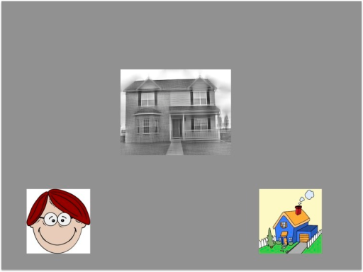 An example trial from our task: participants were asked to categorize the central image by touching the cartoon image at the bottom of the screen that was of the same object category.