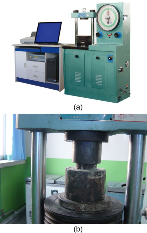 The equipment for experiment.(a) NYL-300 press machine. (b). model put on the press machine.