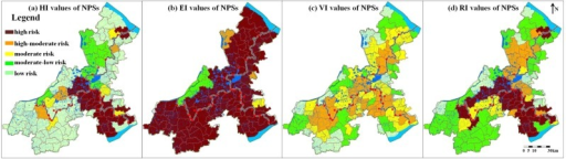 Spatial distribution of HI, EI, VI and RI values of the NPSs.