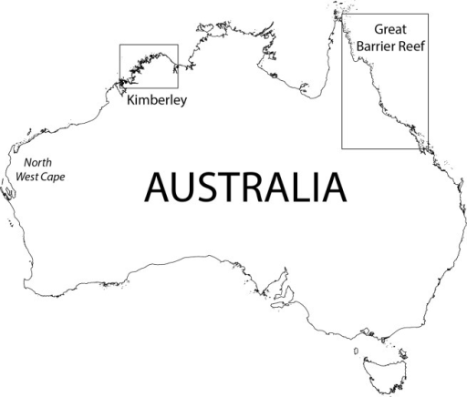 Map of Australia showing the two different regions in  Openi