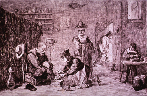 <p>Interior view: A man sitting on a low chair is having his foot bandaged by the village surgeon whose tools are on the floor next to him; a woman waits. In the background, a boy stands at a table, and a man carrying a tankard is seen exiting the room.</p>