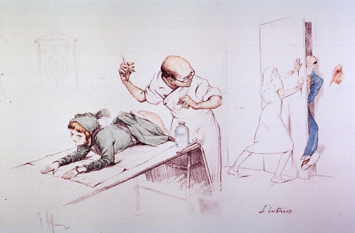 <p>A young woman with her skirt pulled up to her waist lies on a table in a physicians office; the physician is about to give her an injection, but is interrupted by a nurse attempting to keep a man from entering the room.</p>