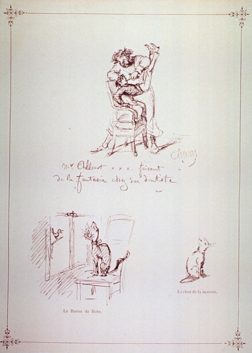 <p>A dentist is extracting a tooth from a young patient, who with both feet up over the dentist's head, is lifted almost entirely out of the chair.  Below are two illustrations of cats.</p>