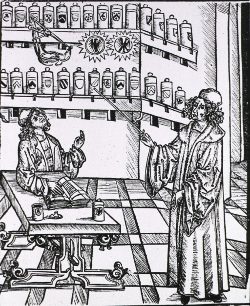 <p>Interior view of a pharmacy; showing the master, standing and pointing to shelves of apothecary jars, instructing the novice who is sitting at a table with an open book.</p>