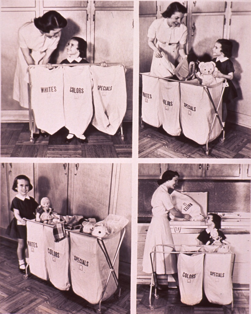 <p>Four vignettes advertising a mobile laundry cart: a child is helping her mother sort the laundry; they are using a mobile laundry cart with a three bag system.</p>