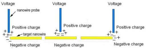 Schematic of the setup shows moving nanomaterials by electrostatic force. A DC bias voltage is applied between the nanowire probe and the target nanomaterials, and an electrostatic force between the nanowire probe and the target nanomaterials is initiated.