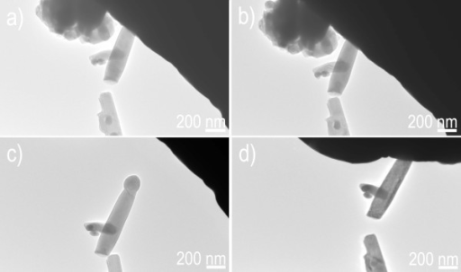 "Manipulating a ZnS nanowire in a form of ""left/right geometry"". (a) Moving ZnS nanowire. (b) Electrostatic force initiated by a bias voltage. (c) Manipulating ZnS nanowire. (d) Placing the ZnS nanowire at a desired location."