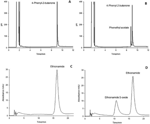 GC chromatograms of an incubation of 4‐phenyl‐2‐butanone in the absence (A) and presence (B) of Ar‐BVMO. The reaction was carried out for 30 min at 37°C with 500 μM substrate, 200 μM NADPH and 0.1 μM enzyme. HPLC chromatograms of an incubation of ethionamide in the absence (C) and presence (D) of Ar‐BVMO. The reaction was carried out for 20 min at 37°C with 500 μM substrate, 500 μM NADPH and 0.7 μM enzyme.