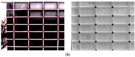 Calibration between two cameras based on geometric transform and accuracy measurements of the calibration. (a) Examples of calibration points used for calculating the matrix of geometric transform in the visible light (left) and thermal (right) images, respectively; (b) Points used for calculating the calibration error in the visible light (left) and thermal (right) images, respectively.
