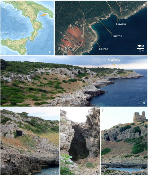 Grotta del Cavallo and the Uluzzo Bay sites.a. location of Uluzzo Bay on a physical map of southern Italy; b. Satellite view of the Uluzzo Bay (http://www.pcn.minambiente.it/GN/), with indication of the Uluzzian sites discussed in the text; c. the setting of the Grotta del Cavallo (photographed from the West); d. the Grotta del Cavallo entrance; e. the Grotta di Uluzzo entrance; f. the setting of the Grotta di Uluzzo (photographed from the Northwest).