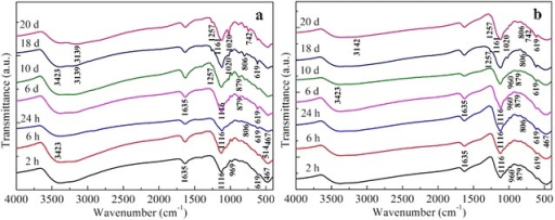 FTIR spectra of solid products of 20 mM Fe2+ oxidized by1.0 g L−1 birnessite with pH 5.5 in nitrogen atmosphere (a) and air (b) at differenttimes
