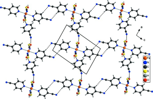 Part of the crystal structure of the title compound in a view along the b axis with emphasis on the connection of discrete complexes and solvent mol­ecules by inter­molecular hydrogen bonding (dashed lines).