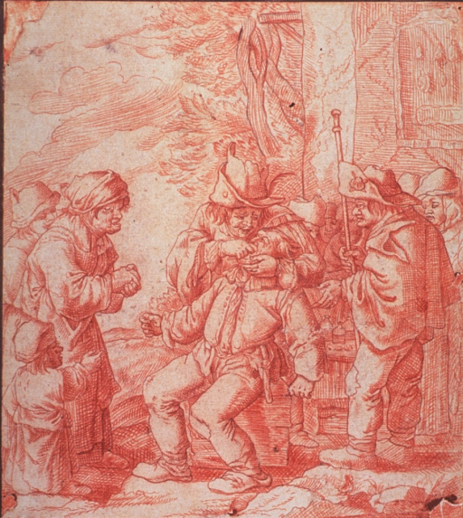 <p>A dentist has set up shop outside a building; he is extracting a man's tooth; a small crowd has gathered to watch.</p>