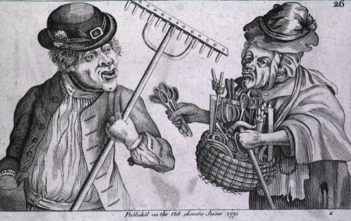 <p>A cross-eyed old woman peddling wooden spoons and other implements approaches a man carrying a rake.</p>