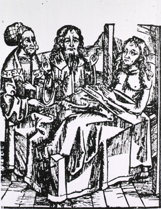 <p>Bedside scene showing a physician and a priest at the bedside of a patient.</p>