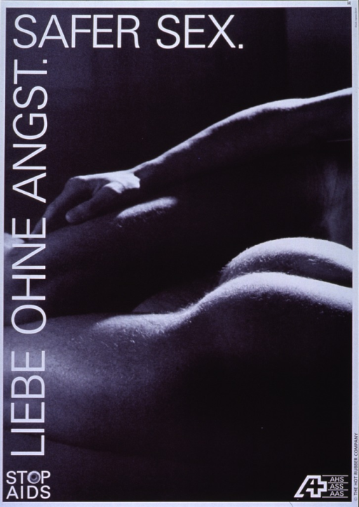<p>Black and white poster with white lettering.  Title on left side, predominantly with vertical orientation.  Visual image is a reproduction of a black and white photo showing two men in bed.  The man in the foreground lies prone, with his naked buttocks visible.  The man in the background lies on his side and rests his arm atop his upper leg.  The photo shows only the knee-to-waist region of the men.  Note in lower left corner.  Publisher information in lower right corner.</p>