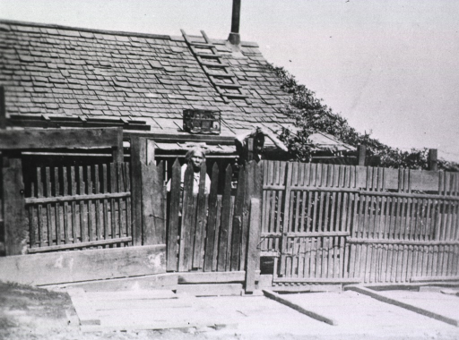 <p>View of a woman standing in front of a house behind a wooden fence peering through through the slats of a  gate during the San Francisco plague campaign.</p>