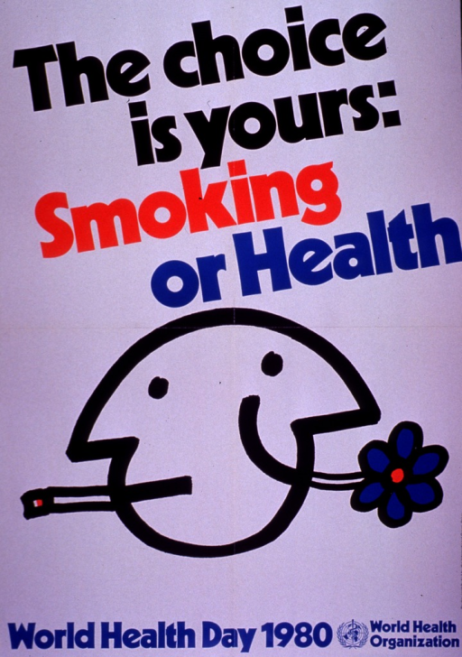 <p>Predominantly white poster with multicolor lettering.  Title at top of poster.  Visual image is an illustration of a Janus-style head.  One side of the head has a cigarette in its mouth; the other side smiles broadly and has a flower protruding from its mouth.  Note and publisher information below illustration.  Sponsor information on right side of poster.</p>