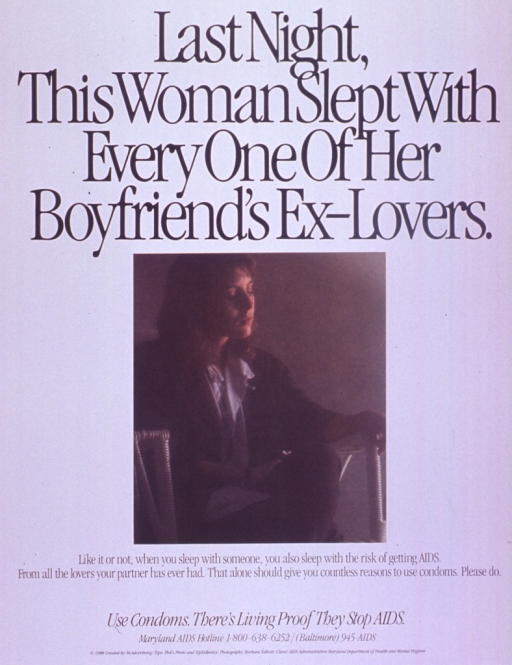 <p>Predominantly white poster with black lettering.  Title at top of poster.  Visual image is a color photo reproduction featuring a woman sitting in a chair.  Caption below photo.  Note below caption.  Publisher information at bottom of poster.</p>