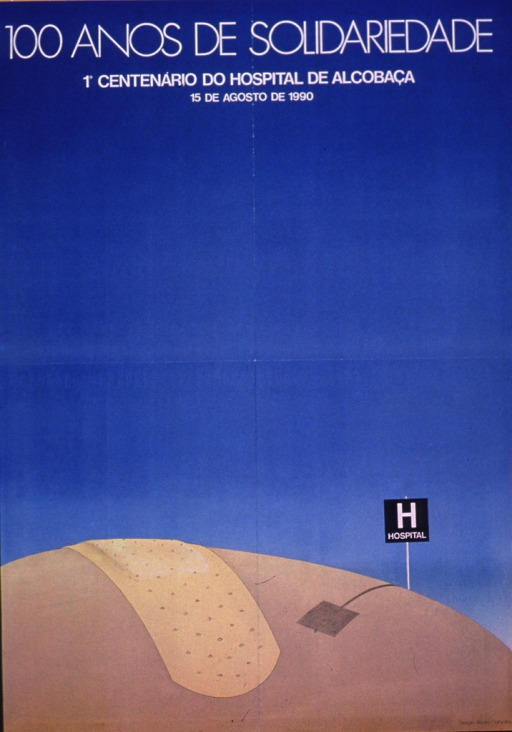 <p>Predominantly light blue and tan poster with white lettering.  Title at top of poster.  Visual image is an illustration of a hospital sign and a band-aid on a rounded, tan surface.</p>
