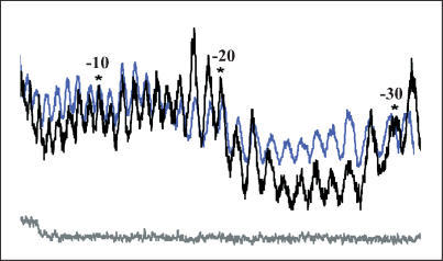 MPE-Fe(II) 2D footprinting confirms binding of TBPm3 at the TGTA box. Densitometry profiles of 76 bp DNA containing the favored sequence (TGTAAATTG) incubated with (black line) and without (blue line) TBPm3 show protection at the TGTA box. Numbering is based on the start site of transcription (+1). Gray line represents uncut DNA.