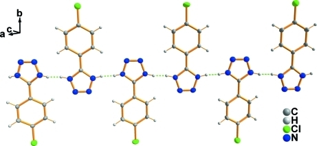 A partial packing view, showing one-dimensional chain structure. Dashed lines indicate the hydrogen bonds.