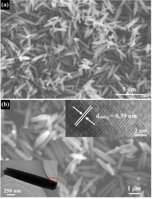 Morphology and structure characterizations of Nb2O5 nanorod precursors: (a) low-magnification SEM image shows that these precursor nanorods have a uniform diameter and length; (b) high-magnification SEM image. The bottom inset is a low-magnification TEM image of a single solid nanorod. The top inset shows a HRTEM image of the boxed region shown in the bottom inset of Figure 2c, which indicates that these precursor nanorods grow along the [001] direction.
