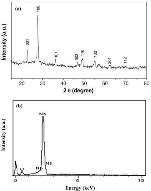 Composition characterizations of Nb2O5 nanotube products: XRD (a) and EDX (b) patterns of single-crystalline nanoporous Nb2O5 nanotubes. All the peaks in Figure 3a totally overlap with those of pure Nb2O5 (compare reference lines, JCPDS no. 30-0873) and no evidence of any impurity was detected.
