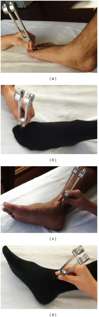 Measurement technique. (a), (b): Measurement at the great toe without and with socks. (c), (d): Measurement at the medial malleolus without and with socks.
