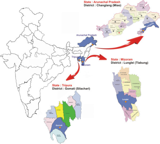 Details of study site from the National Antimalarial Drug Resistance Monitoring System, northeast India, 2012–2013.