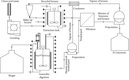 Block flow diagram of biogas production from treated orange peel waste by leaching pretreatment and limonene extraction.