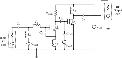 Schematic of the inductively source degenerated narrowband LNA.