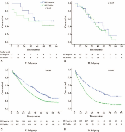 The overall survival in subgroup analysis with T-stage. (A) In the T1-stage subgroup, the lymph node could not predict survival, P = 0.565. (B) In the T2-stage subgroup, the lymph node could not predict survival, P = 0.517. (C) In the T3-stage subgroup, the patients with lymph node metastasis had worse survival, P = 0.000. (D) In the T4-stage subgroup, the patients with lymph node metastasis had a worse survival, P = 0.000.