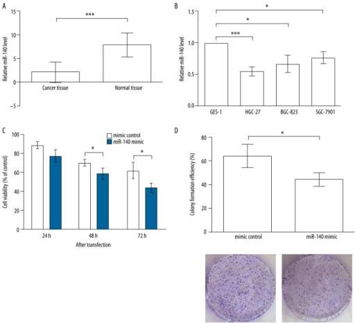 miR-140 is down-regulated in gastric cancer and inhibits cell proliferation. (A) miR-140 is down-regulated in gastric cancer tissues compared to normal tissues. (B) miR-140 is down-regulated in gastric cancer cell lines, including HGC-27, BGC-823, and SGC-7901, compared to normal gastric cell line GES-1. (C) MTT results indicate that HGC-27 cells transfected with miR-140 mimic possess lower viability than mimic control. Significant differences are found at 48 and 72 h after transfection. (D) Colony formation experiment shows the HGC-27 cells transfected with miR-140 mimic possess lower colony formation efficiency after 2 weeks of incubation. * P<0.05; *** P<0.001.