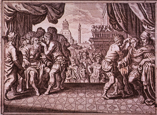 <p>On a stage in a city plaza two eye operations are in progress; a young man on the right attended by a surgeon and one assistant, and an old man on the left treated by a surgeon and three assistants; a crowd in the background observes.</p>
