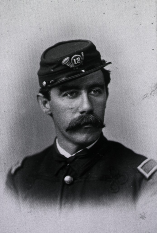 <p>Head and shoulders, in uniform, member of the 18th infantry.</p>