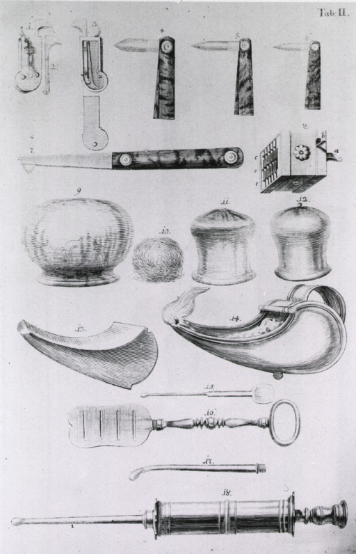 <p>Cupping bells, lancets, scarificators, and other instruments are arranged by type.</p>