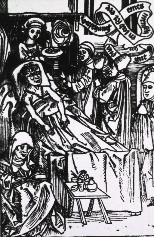 <p>Several people are gathered around a patient's bedside; one person holds up a urine flask to examine the contents; a woman sits at the foot of the bed reading, another stands at the head of the bed; a scroll of text is in the upper right corner.</p>