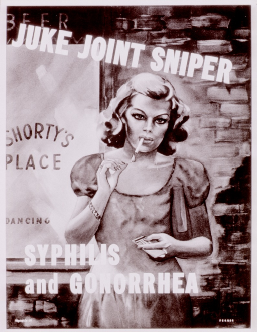 <p>Multicolor poster with white lettering, depicting a woman standing outside a bar or dance hall.  The woman has blond hair and wears a short-sleeved steel blue dress, pink bracelet, and blue ring.  She has a dark red purse tucked between her arm and body, freeing up her hands to hold matches and light the cigarette dangling from her mouth.  Her attractive features are hardened by her eyebrows coming together, as in anger, and a slight snarl on her lips.  Initial title words at top of poster, remainder overlap woman's midsection.  Artist's name in lower right corner.  VDgraphic-25 appears in lower left corner.</p>