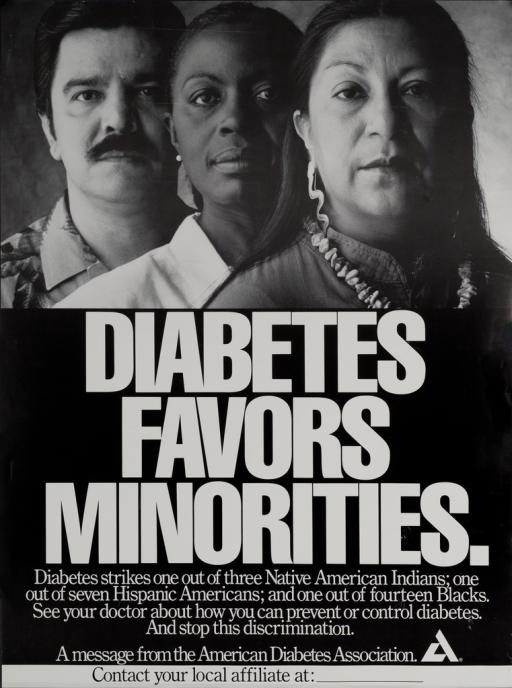 <p>Predominantly black poster with white and black lettering.  Visual image at top of poster.  Image is a reproduction of a b&amp;w photo of three people representing the minority groups discussed in the caption.  Title below photo, caption below title.  Publisher information and logo near bottom of poster.  Space provided for a local phone number, though none given.</p>