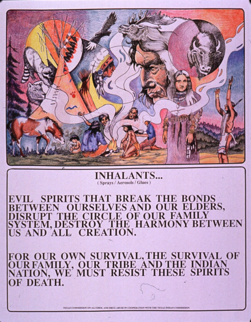 <p>Predominantly white poster with black lettering.  Visual image is a color illustration featuring several people clustered around a campfire.  Two people in traditional Indian dress stand away from the fire.  Depictions of animals and human faces waft along with the smoke from the fire.  Title and caption below illustration.  Publisher information at bottom of poster.</p>