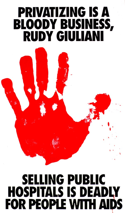 <p>White poster with a black border and black lettering.  A red hand print, the only illustration, is set against the white background.</p>