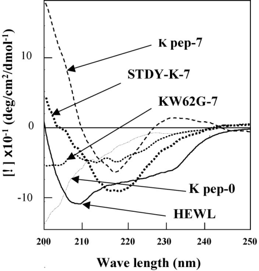 Far-UV CD spectra of the K peptide and other substances. Samples indicated in the legend to Fig. 3 were used. As a control, non-incubated K peptide preparation was also analyzed (K pep-0). Before being subjected to the analysis, each peptide and HEWL was diluted to 80 μg/ml as described in Materials and Methods.