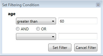 Filtering condition input form – comparison operation on attribute.